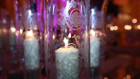 candle and glass Stock Video Footage
