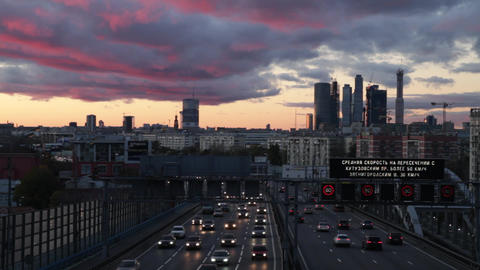 City At Sunset stock footage