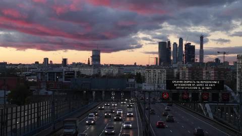 city at sunset Stock Video Footage