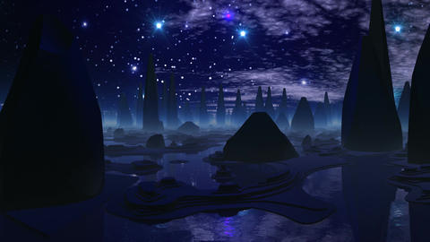 The city of aliens and UFO the crossing sky Animation