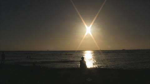 sunset beach02 Stock Video Footage