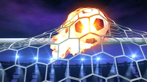 burning soccer ball is slowly flying in the goal Stock Video Footage