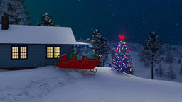 Santa Claus house decorated for Christmas at night Animation