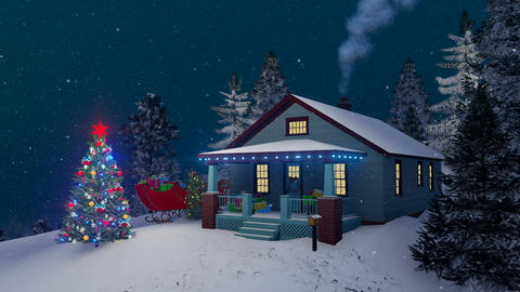 Cozy rustic house decorated for Christmas night Animation