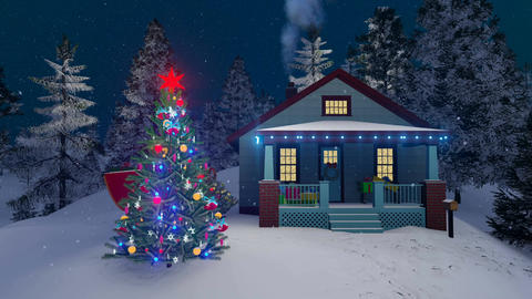 Cozy rural house and decorated outdoor Christmas tree Stock Video Footage