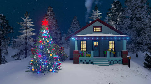 Cozy rural house and decorated outdoor Christmas tree Animation