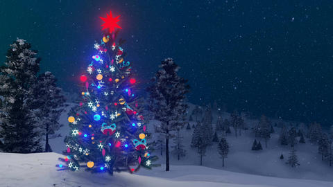 Outdoor decorated Christmas tree at snowfall winter night Animation