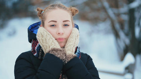 Young Woman With Blue Eyes in Winter Footage