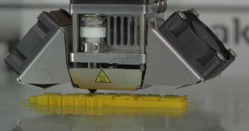 Mechanism of 3D printer working on printing object Footage