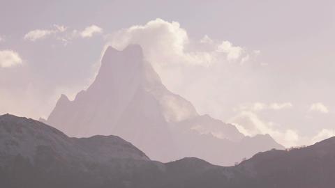 Ama Dablam Peak Sunrise Time Lapse Zoom 4K Footage