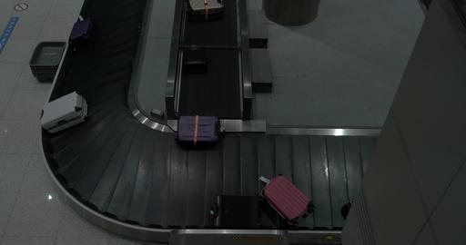 Baggage arriving to conveyor belt in the airport Footage