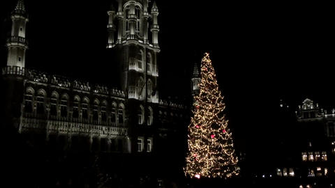 Brussels, Belgium Grand Place Christmas 2016 tree at night Footage