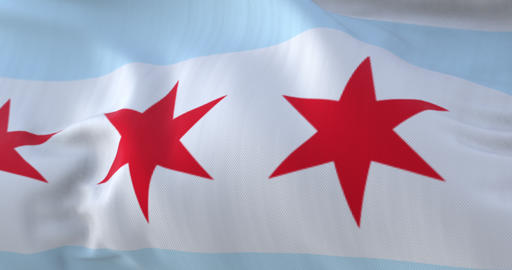 Flag of Chicago, city of United States of America - loop Animation