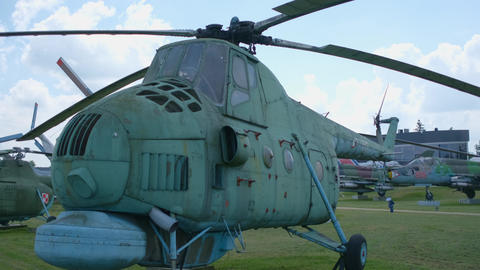 Old military transport aircraft at the military open-air exhibition Live Action