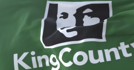 King county flag, state of Washington, United States of America - loop Live Action