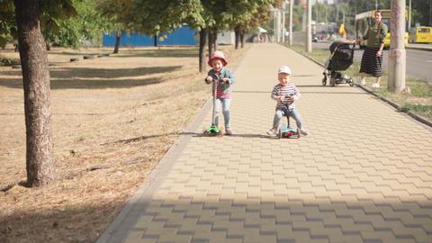 Childhood, family, vacation, transport concepts - preschool age slavic kids Live Action