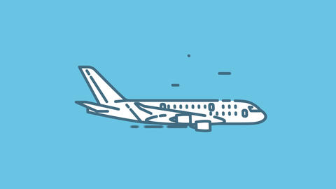 Airbus A380 line icon on the Alpha Channel Animation