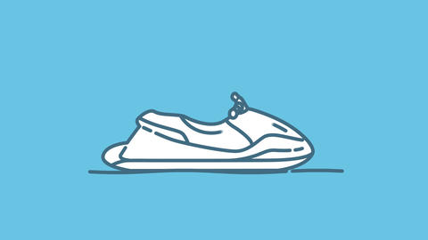 Water Scooter line icon on the Alpha Channel Animation