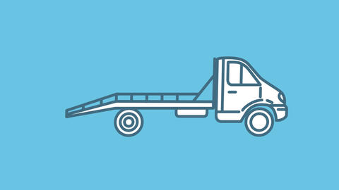 Tow Truck line icon on the Alpha Channel Animation