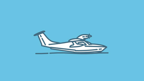 Seaplane line icon on the Alpha Channel Animation