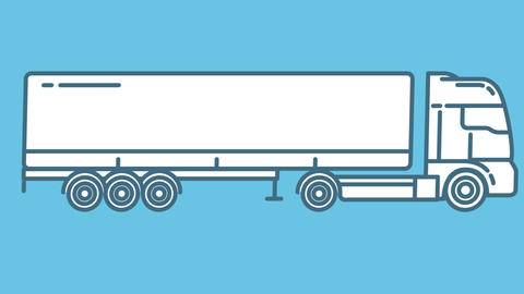 Semi-Trailer Truck line icon on the Alpha Channel Animation