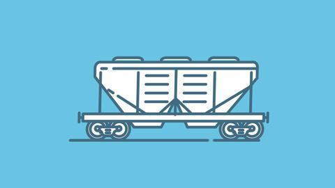 Hopper Railway Wagon line icon on the Alpha Channel Animation