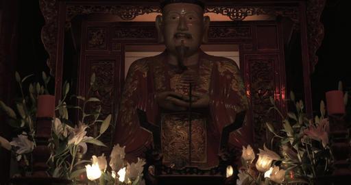 Statue of Confucius in Temple of Literature. Hanoi, Vietnam Footage