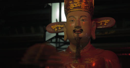 Incense and statue in Hanoi Temple of Confucius, Vietnam Footage