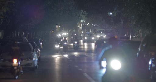 Night traffic on city motorway in Hanoi, Vietnam Footage
