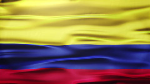 Realistic Seamless Loop Flag of Colombia Waving In The Wind With Highly Detailed Animation