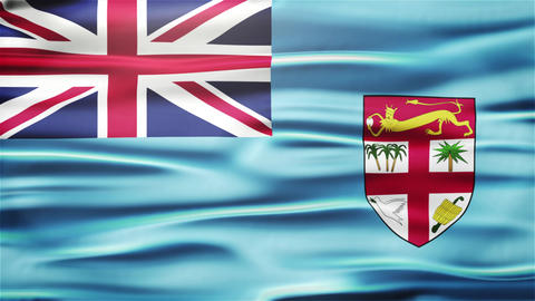 Realistic Seamless Loop Flag of Fiji Waving In The Wind With Highly Detailed Fab Animation