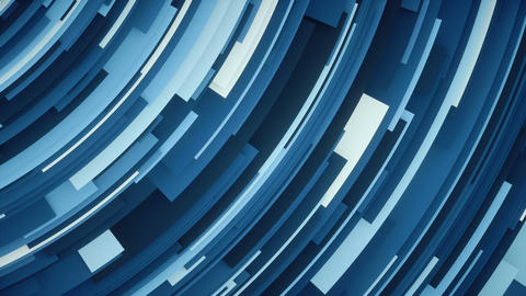 Geometric high tech flat curved blue 4k background loop Animation