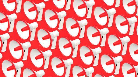 Many megaphones on red background Animation
