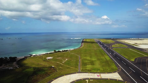 Airplane takes off over head. Airplane taking off from the airport. Aerial view Live Action