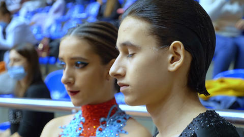 portrait. couple of ballroom dancers waiting for the results of the competition Live Action