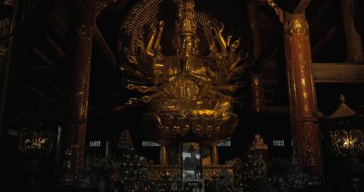 Buddhist statue in Bai Dinh Temple, Vietnam Footage