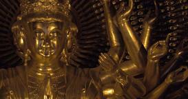 Buddhist bronze statue in Bai Dinh Pagoda, Vietnam Footage
