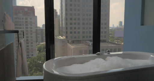Bathroom with panoramic windows in the hotel Footage