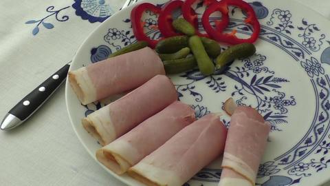 Plate of pork sliced ham Live Action