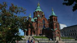 Helsinki landmark establishing shot, famous Uspenski Cathedral at sunny day Footage
