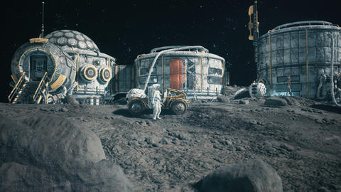 An astronaut stands beside his lunar rover at the space moon base. Animation for fantasy, futuristic Animation