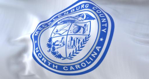 Mecklenburg county flag, state of North Carolina, United States - loop Animation