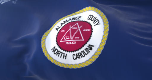 Flag of Alamance county, state of North Carolina, in United States - loop Animation
