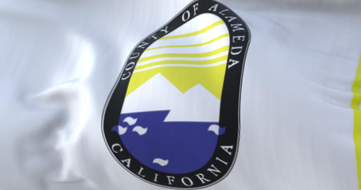 Flag of Alameda county, state of California, United States - loop Animation