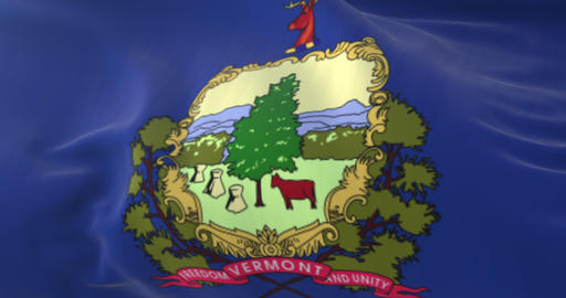 Flag of Vermont state, United States. Loop Animation