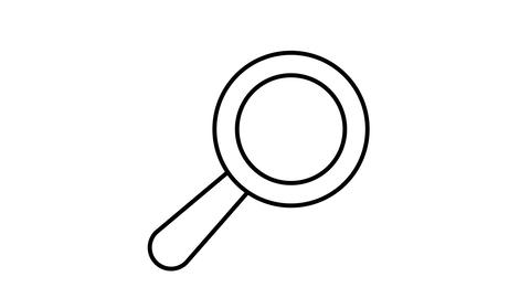 Magnifier line icon on the Alpha Channel Animation