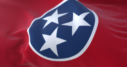 Flag of american state of Tennessee, region of the United States. Loop Animation