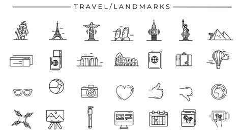 Black-white animated icons on the theme of Travel and Landmarks Animation