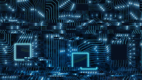Sci-Fi digital blue background, printed circuit board with chips and electronic Animation