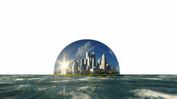 Modern city in a glass dome on ocean, timelapse sunrise, against white Animation